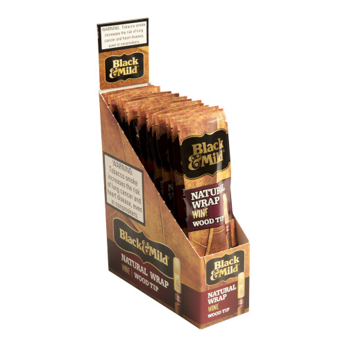 Black and Mild Cigars Natural Wrap Wine Wood Tip Cigars - 5.0 x 30 (Pack of 15)