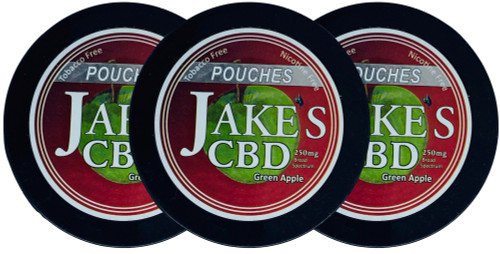 Jake's Mint Chew CBD Pouches Green Apple 3 Cans