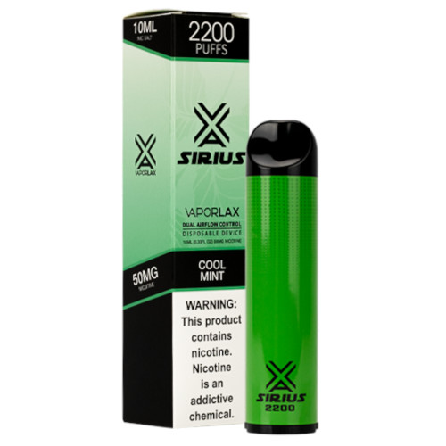 VaporLax Vape Sirius 2200 Flavored Disposables Cool Mint Box