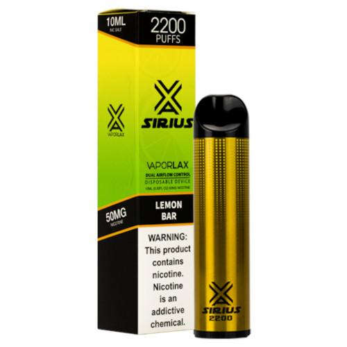 VaporLax Vape Sirius 2200 Flavored Disposables Lemon Bar Box
