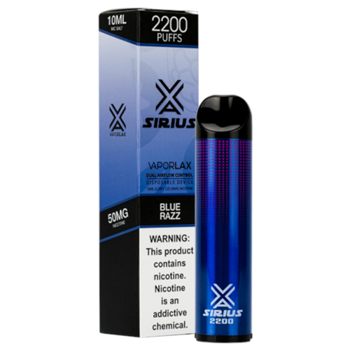 VaporLax Vape Sirius 2200 Flavored Disposables Blue Razz Box