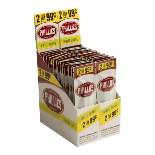 Phillies Cigarillos White Grape Cigars (30 Packs Of 2) - Natural