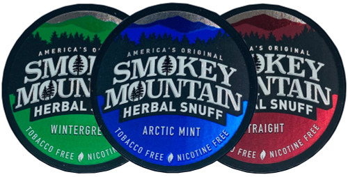 Smokey Mountain Herbal Snuff Chew Straight Arctic Mint and Wintergreen 3 Cans