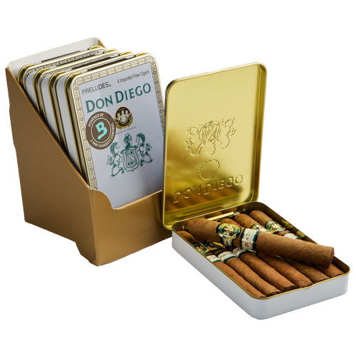 Don Diego Preludes Cigars - 4 x 30 (5 Tins of 6 (30 total))
