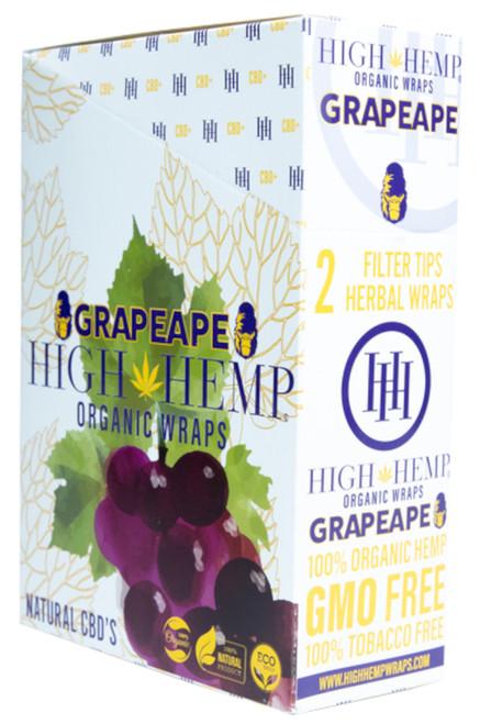 High Hemp Flavored Organic Hemp Wraps Grape Ape Box