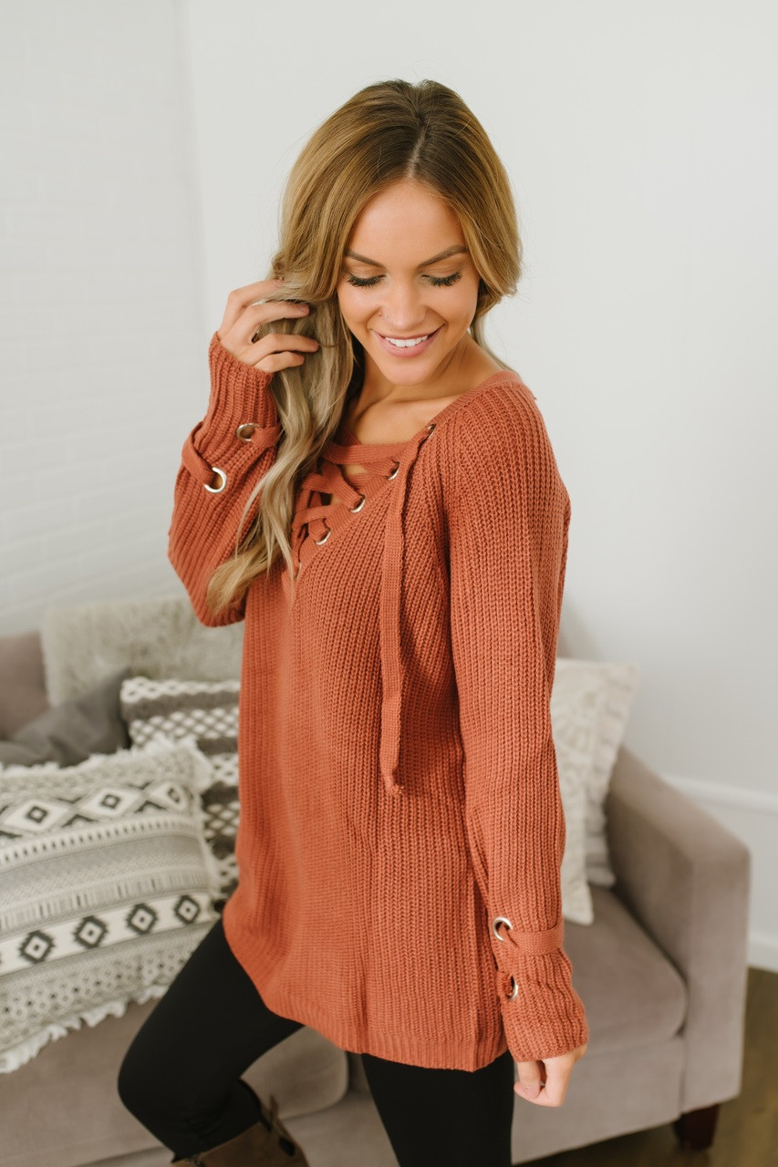 49701472d0 ... Three Wishes Lace Up Sweater - Rust - FINAL SALE. 1