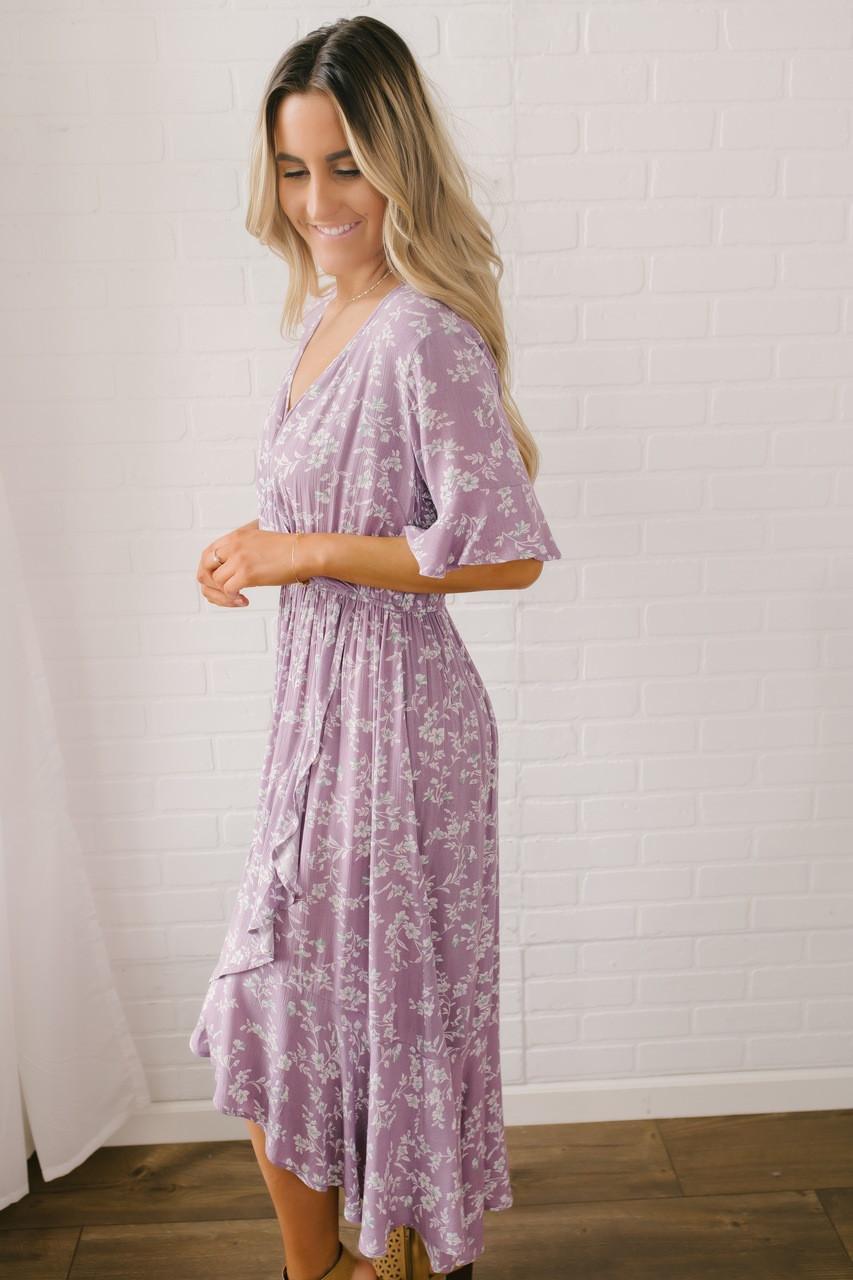 8c3934d801f Faux Wrap High Low Floral Midi Dress - Lavender