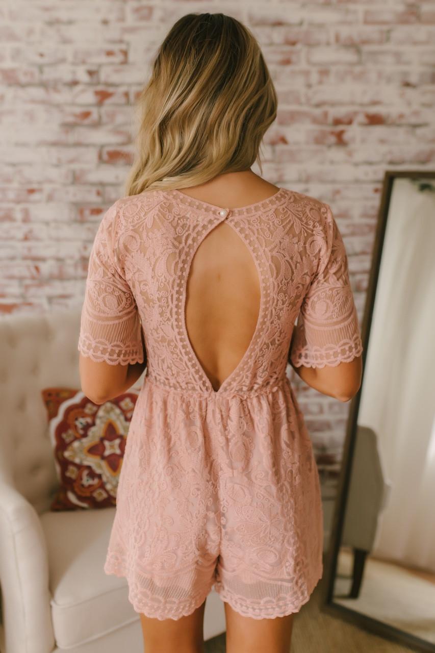 d4d4c1210e8 Short Sleeve V-Neck Lace Romper - Blush