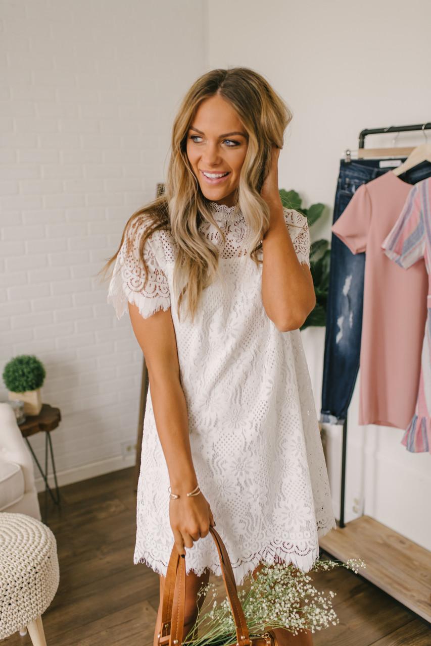 e46ca8e6871 ... High Neck Scalloped Lace Shift Dress - Off White. 1