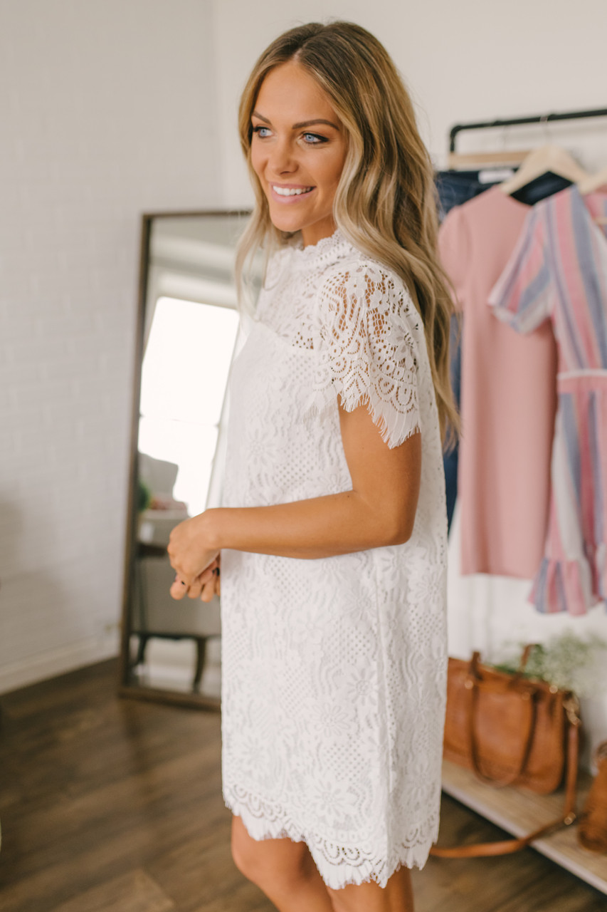 199ac0d02e7 High Neck Scalloped Lace Shift Dress - Off White