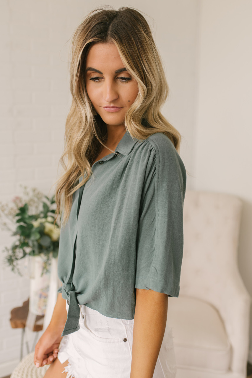 39bc095be8a44a ... Button Down Knot Crop Top - Dusty Sage. 1