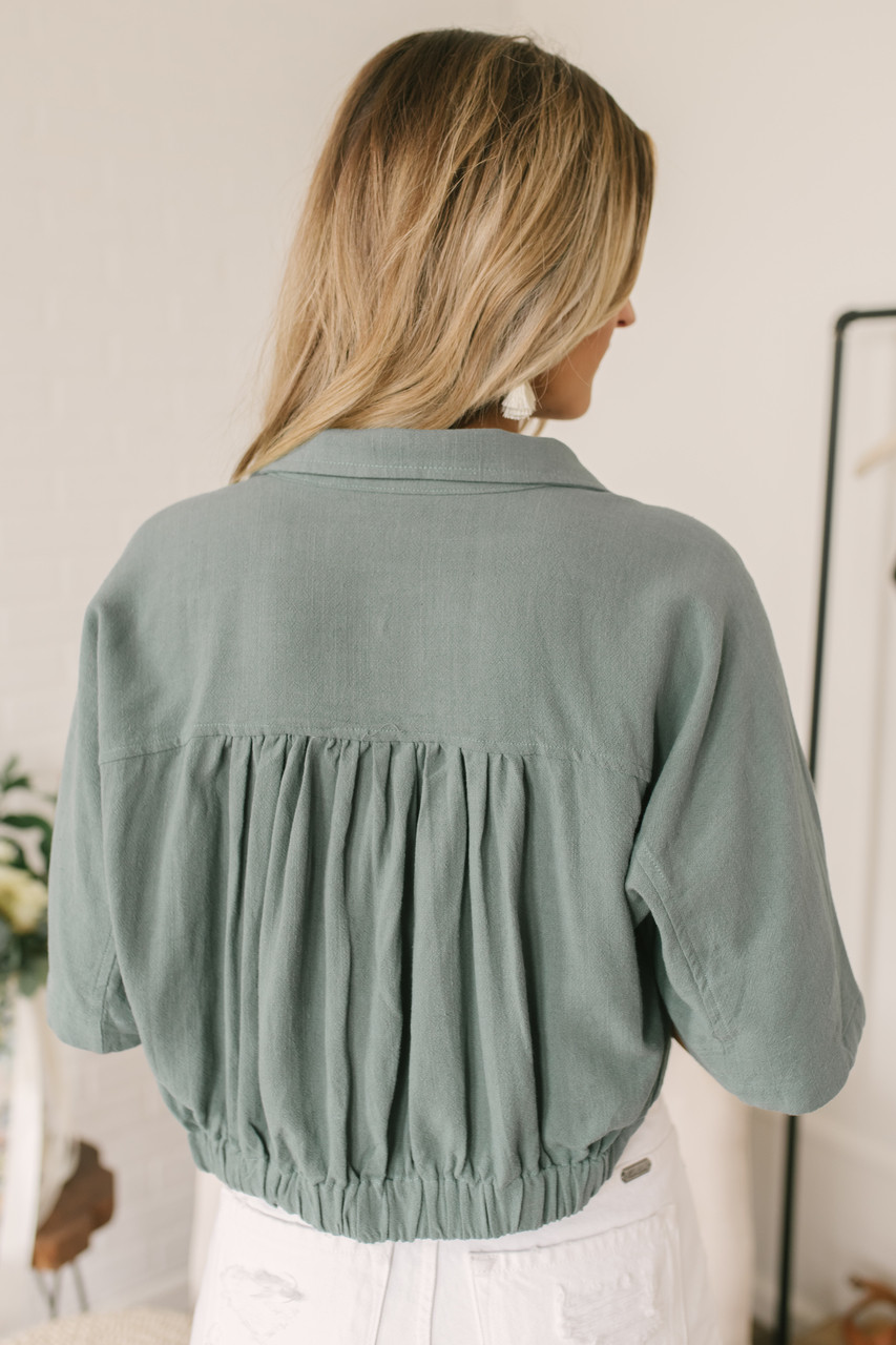 849336ee563f46 Button Down Knot Crop Top - Dusty Sage