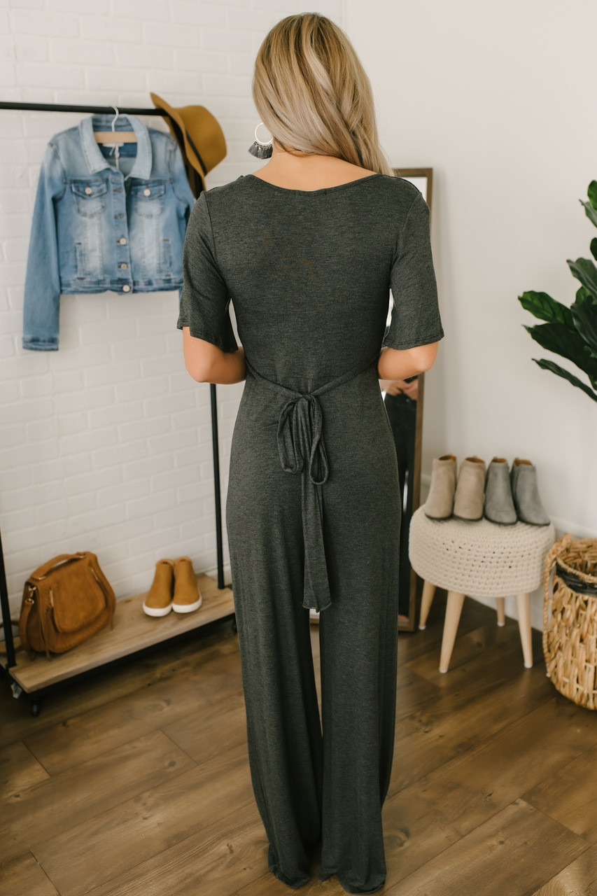 a170085718d0 ... Short Sleeve Empire Waist Jumpsuit - Charcoal. 1