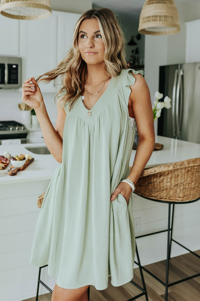 adaçayı yeşil yazlık elbise