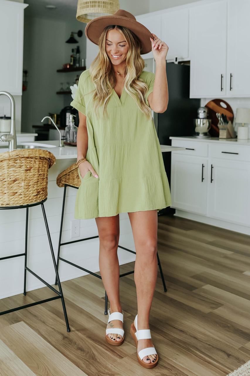 zeytin yeşili yazlık elbise