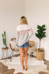 Soft Brushed Colorblock Pullover - Ivory/Mauve/Grey