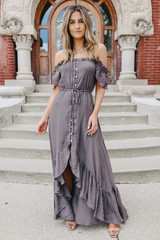 Off the Shoulder Button Down Midnight High Low Maxi