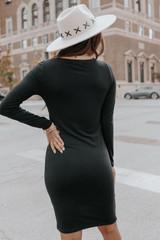 Long Sleeve Black Ruched Tulip Dress