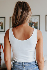 Melrose V-Neck White Ribbed Bodysuit