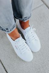 Superga White Canvas Platform Sneakers