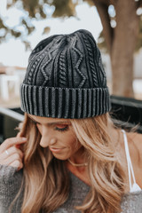 Free People Stormi Washed Black Cable Beanie