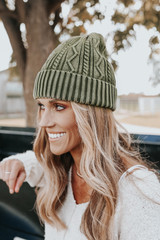 Free People Stormi Washed Olive Cable Beanie