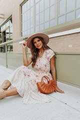 Victorian Romance Floral Colorblock Midi Dress
