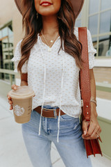 V-Neck Tie Detail Dotted Ivory Blouse
