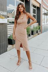 Button Down Mocha Ribbed Midi Dress