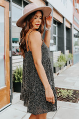 Button Detail Black Leopard Babydoll Dress