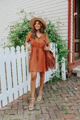 Short Sleeve Button Down Cinnamon Dress