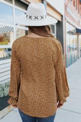 V-Neck Crochet Detail Camel Printed Blouse