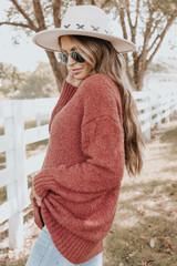 V-Neck Seam Detail Marsala Boucle Sweater