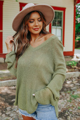 Mountain Escape V-Neck Olive Lightweight Sweater