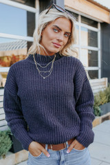 Moonlight Mock Neck Charcoal Chenille Sweater