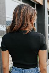 Uptown Cafe Square Neck Black Ribbed Bodysuit