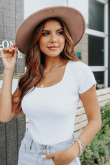 Uptown Cafe Square Neck White Ribbed Bodysuit