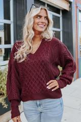 Napa Vineyard V-Neck Wine Cable Sweater