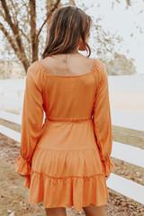 Puff Sleeve Burnt Orange Tiered Wrap Dress