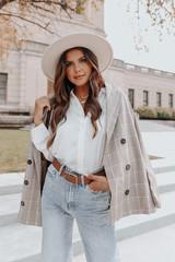 Button Down White Crinkle Bodysuit