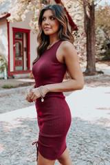 Lasting Impression Burgundy Ruched Ribbed Dress