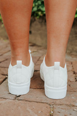 Faux Leather White Quilted Sneakers