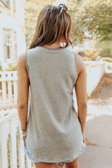 Sleeveless Contrast Stitch Grey Brushed Top