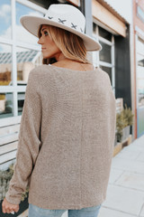 V-Neck Dolman Mocha Lightweight Sweater