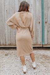 Neve Faux Wrap Heather Oatmeal Midi Dress