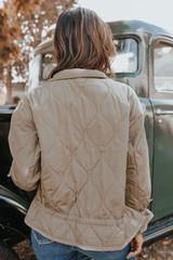 Alpine Drawstring Khaki Quilted Jacket