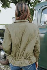 Alpine Drawstring Olive Quilted Jacket