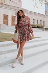 Button Down Drawstring Floral Dress