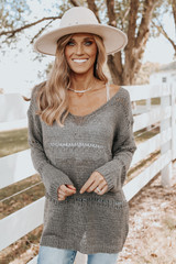 V-Neck Charcoal Pointelle Sweater