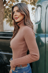 Romantic Fable Turtleneck Caramel Ribbed Sweater